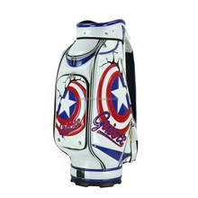 2015 golf caddy golf, customized best PU golf bag ever, blue & red star durable PU leather golf bag