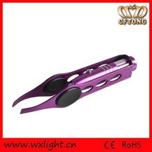 Professional Stainless Steel Eyebrow Tweezer with Light