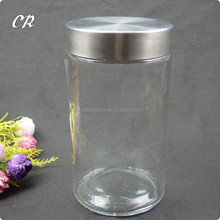 cylinder shape clear glass storage jar with stainless steel lid