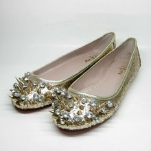 Gold silver black genuine leather crystal and spikes flat shoes