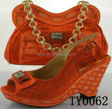 2015 fashion orange shoes and matching bags italian wedge