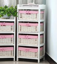 wooden handicraft Storage Unit chest with 4 wicker weaving Baskets