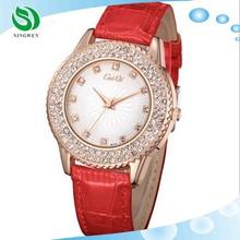 2015 Hot sale diamonds leather vogue lady watch