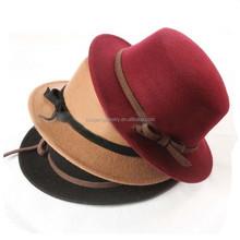 Vintage Women Wide Brim Ribbon Warm 100% Wool Felt Hat