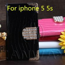 Luxury Diamond Bling Pu Leather Crocodile Flip Cover For Apple iPhone5 5S 5G Fashion Cell Phone Wallet Case For iPhone 5G