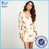 New Fashion Women sexy chiffon dresses loose ladies Elegant Style long sleeve v-neck Floral Casual Dress