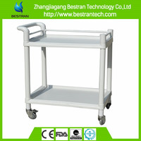 Chinese BT-UY004 Cheap ABS Utility Hospital Medical Trolley With Two Layers Rolling Utility Carts