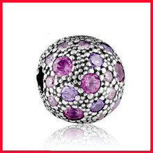high quality stock order 925 sterling silve antique finish european clasp stopper beads with purple cz