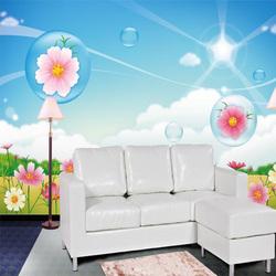 Home wall flowers and grass sun pink nature cartoon girl boy room mural wallpaper supplies kid baby tv with birds