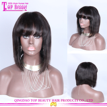 Qingdao top quality silky straight virgin peruvian human hair lace front wigs with bangs