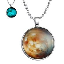 DIY jewelry Round Glass Necklace The Mars Glow in The Dark Jnecklace