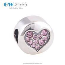 Encantos paz forma original 925 Sterling Silver Red coração pavimentada encantos jóias réplica por atacado