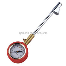 Dial type tyre tire gauge dual-head chuck,metal body w/protective rubber casing with brass air release valve