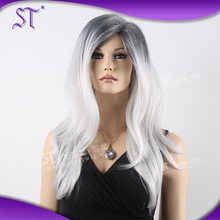 hot selling mixed color long natural wave grey wigs with reasonable price