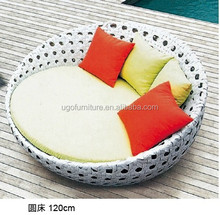 rattan furniture sunbed outdoor beach wicker sofa bed hotsale