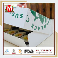 Made in china small moq paper sushi box, food sushi packaging