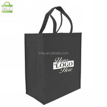 Black non woven bag with customized print long handles