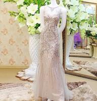 Real Sample Mermaid Tulle Beaded Crystal Sexy Evening Dress 2015 Model Dress Night