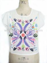 De manga corta cuello redondo modelos t- camisetas para las mujeres