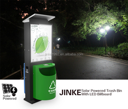 JINKE solar powered led two side light up picture frame with waste recycle bin
