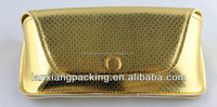 2015 Fashion Customized Gold PU Soft Glasses Case