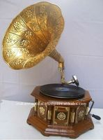 wooden gramophone, indian gramophone, antique reproduction gramophone