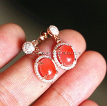 925 Silver Earring Fashion Sterling Silver Jewelry Stud earing nature red agate qualified by the third party