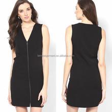 Hot sale V-neck Zipper Front Sleeveless Black Dress For Office