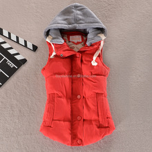 2015 Quilted Girls Ladies Red Vests with hood