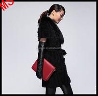 Genuine Knitted Rabbit Fur latest Dress Design With Raccoon Dog Fur Trim