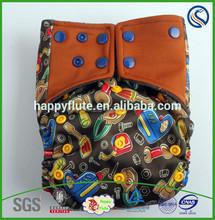 2015 Happy flute baby cloth diaper,adjustment designs,rinsed, pattern PUL nappy,wholesale