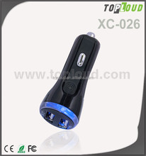 Toploud XC-026 colorful usb port2 car charger with cable 2.1A 12-24 V