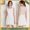 White lace knee length evening chiffon dress, silk sharara mini dress OEM wholesale