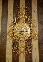 Luxury European Wall Hanging Brass Clock, Retro Brass With 24K Gold Plated Wall Clock, Bronze Mounted Art