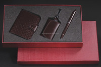 Free shipping wholesale on line Business leather promotion gift set key chain of H style &Classical signature pen&card case