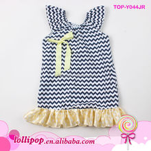 Hot sales! high quality infant and toddlers cotton baby girls chevron peasant dress