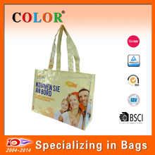 Factory direct Recycle lamination pp woven shopping grocery bag for restaurant promotion customized printing with family