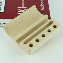 Natural beech Wood Business Card Holder phone stand pen or pencil holders 3 in 1