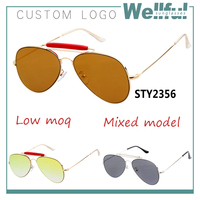 2015 latest design pilot custom logo colorful double bridge mirrored aviator sun glasses wholesale