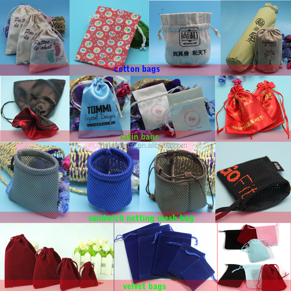 various stylish eco-friendly custom printed cotton bags drawstring cotton fabric pouch for jewelry