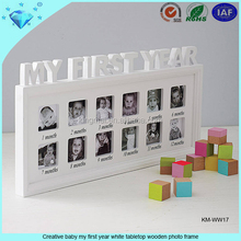 Creative baby my first year white tabletop wooden photo frame