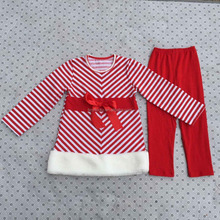 Toddler girl boutique outfits kids winter 2015 christmas clothing sets red stripe kid clothes