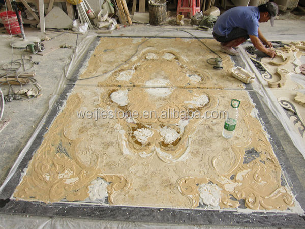 Marble Inlay Flooring Designs : Marble inlay flooring design waterjet tiles