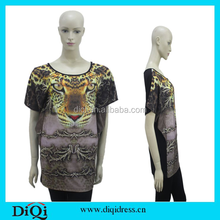OEM Service China Supplier Fashion Tiger Printed Black Short Sleeve Women Apparel, Women Top, Woman Clothes,Women T-shirt