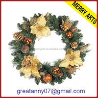 Christmas Rattan Wreath white berry flower garland for door decoration
