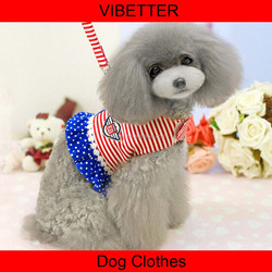 LXT-003 sailor style lovable pet dog clothes harness and leash products for dogs