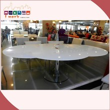 Common White Round Extendable Dining Table with Strong Bases Italian Designs 818