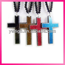 Rosary beads style cross necklace plastic crucifix necklace