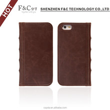Guangdong manufacturer vintage book style genuine leather case for iphone 6,card slots protective cover for iphone 6 case