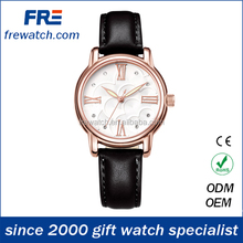 2015 fashion design quality genuine leather watches with stainless steel case